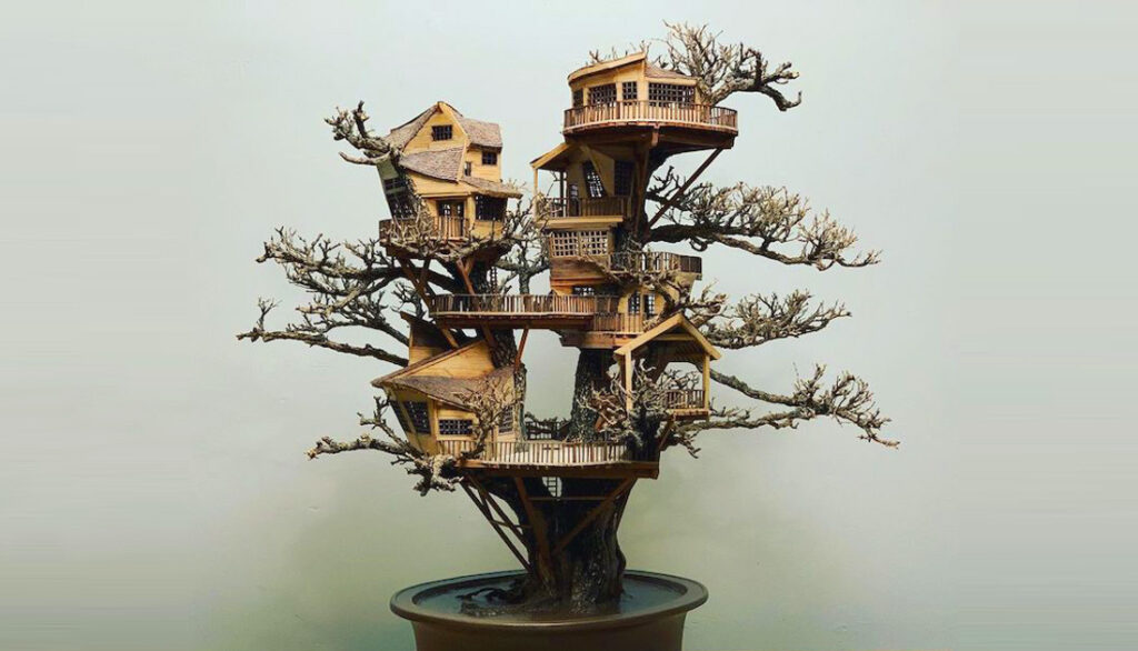 Čudesne ručno izrađene minijaturne kućice na drveću